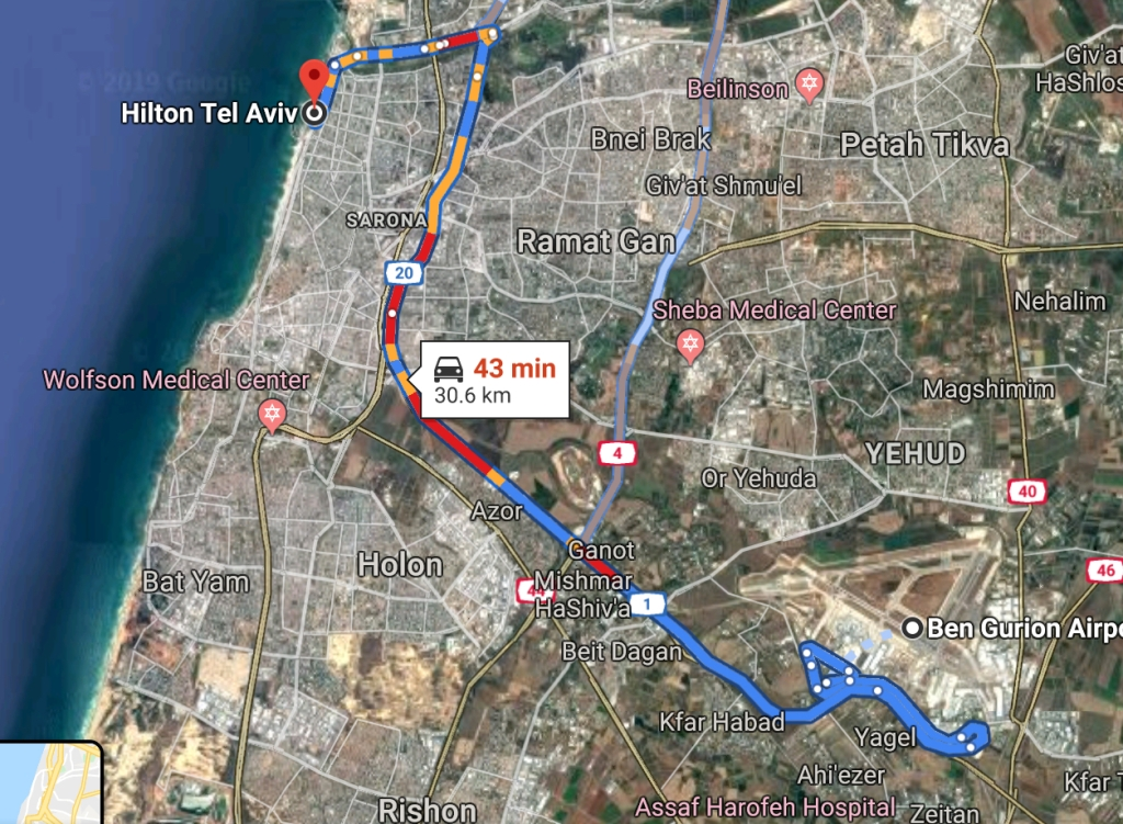Map from TLV to the Hilton Tel Aviv