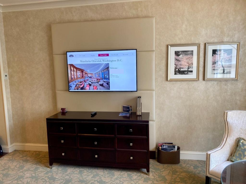 Mahogany dresser and 4K LED TV