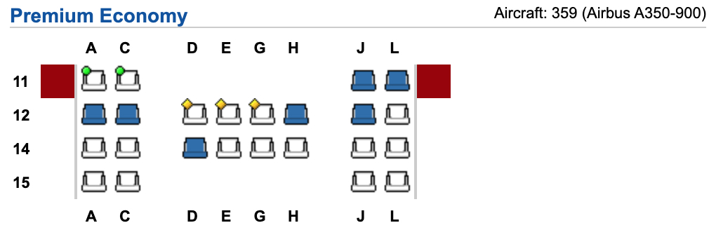 Iberia A35-900 seating configuration – Source: Expert Flyer