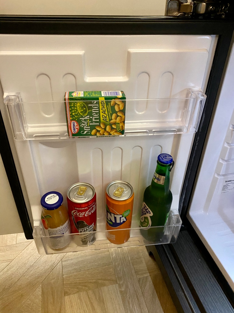 Minibar beer, juice and soft drink selection