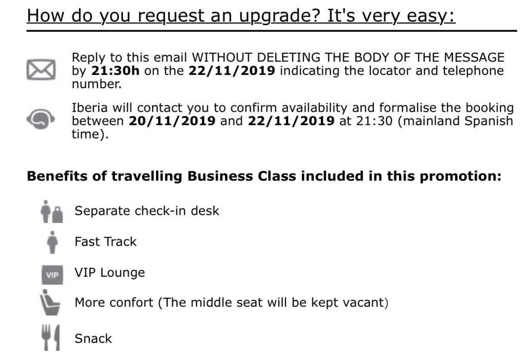Iberia upgrade offer e-mail