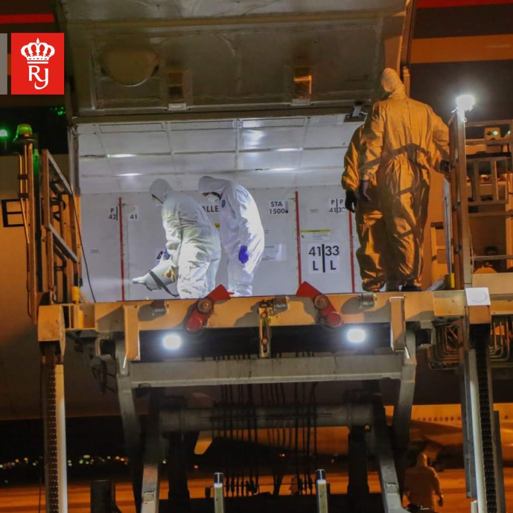 Royal Jordanian staff disinfecting cargo hold potentially contaminated with novel Coronavirus (2019-nCoV)