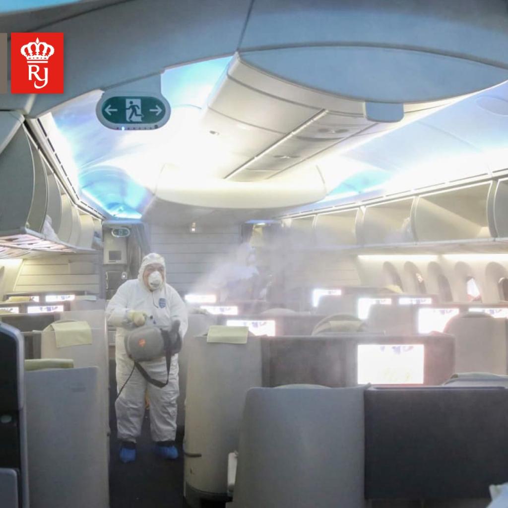 Royal Jordanian staff disinfecting aircraft potentially contaminated with novel Coronavirus (2019-nCoV)