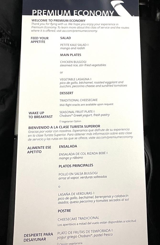Premium economy food menu