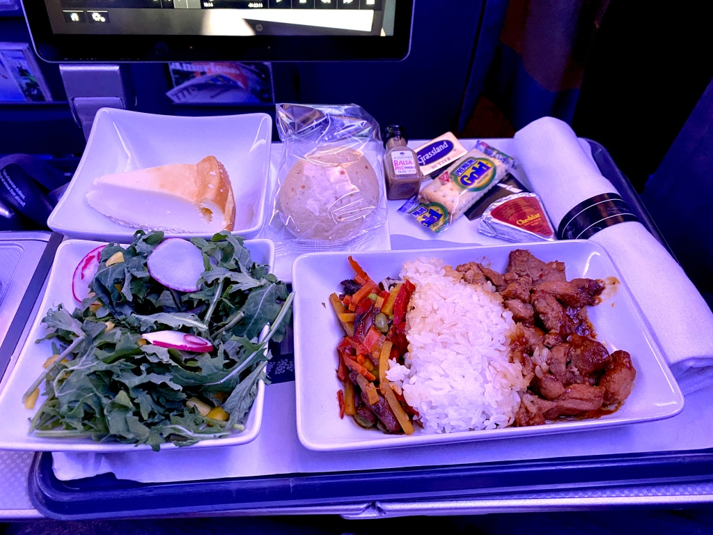 American Airlines chicken bulgogi premium economy meal