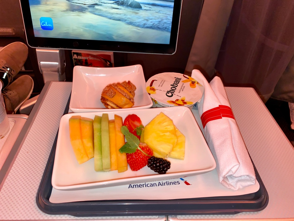 American Airlines chicken bulgogi premium economy breakfast