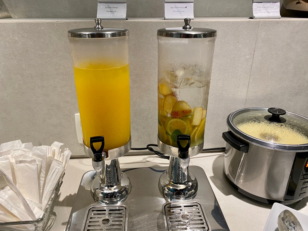 Flavored water and orange juice
