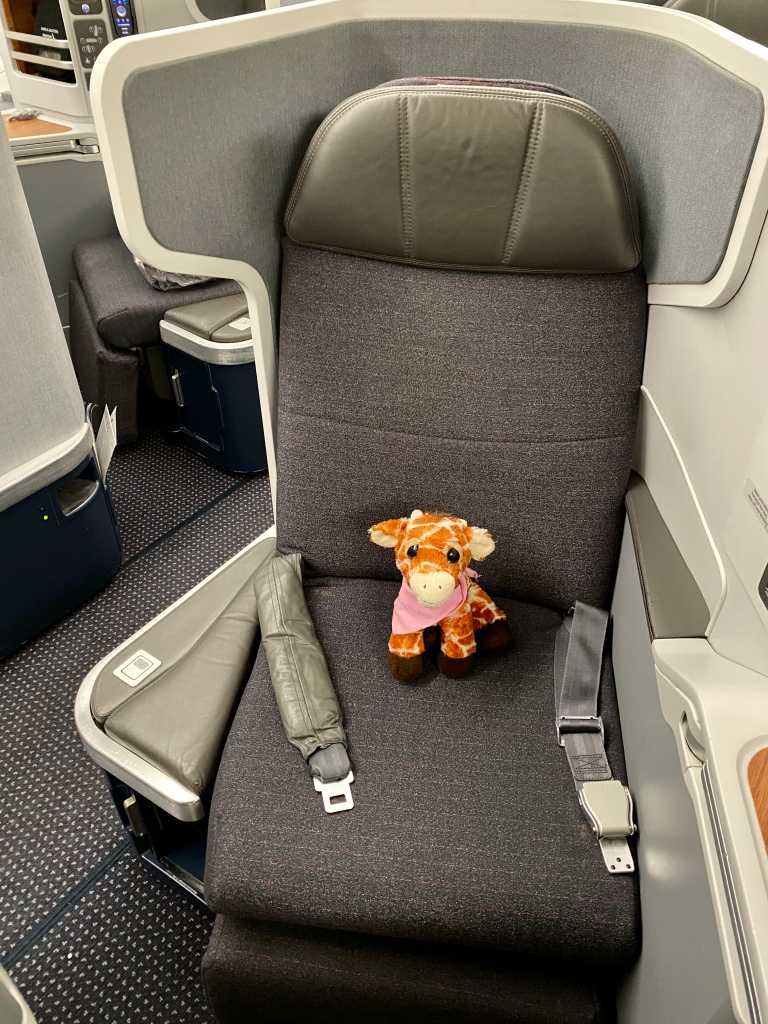 First Class Giraffe settling into American Airlines 777-300ER business class seat