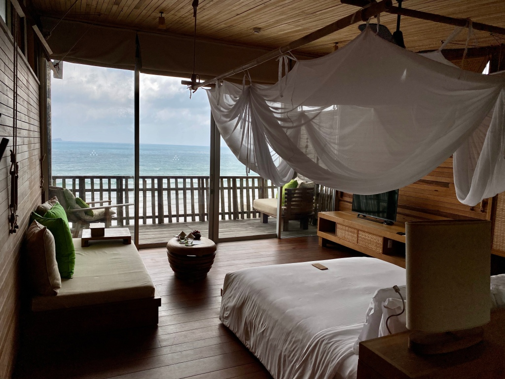 Ocean view from the 2nd floor bedroom at the Six Senses Con Dao
