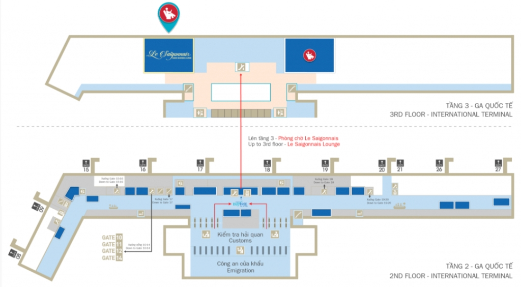 Map of SGN international terminal - Le Saigonnais Business Lounge
