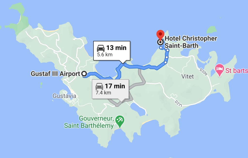 Map from the airport to Hotel Christopher
